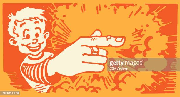 boy aims finger like gun and it works - naughty america stock illustrations, clip art, cartoons, & icons