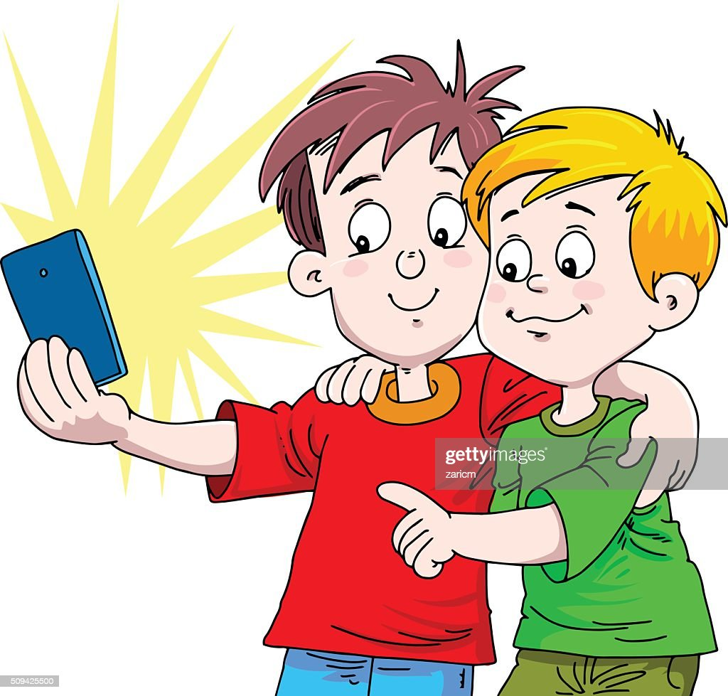 boy and boy taking selfie photo