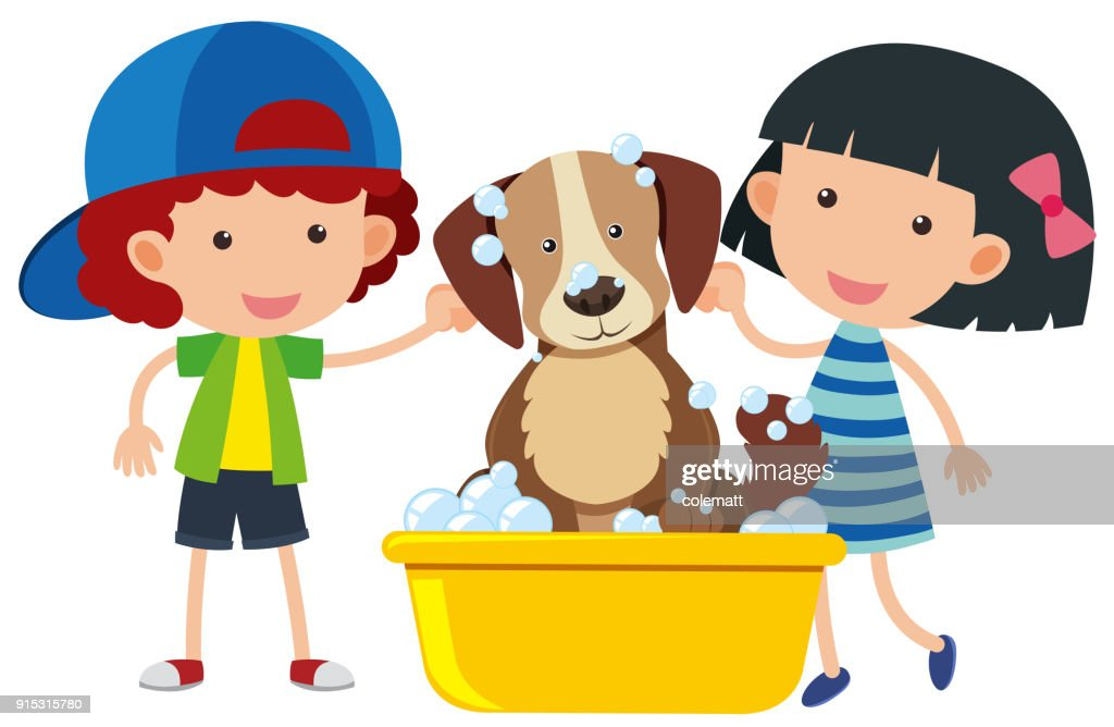Boy and girl giving dog a bath