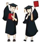 boy and girl graduate from high school vector