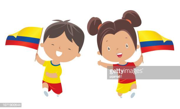 boy and girl holding colombia  flag - colombia stock illustrations