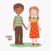 Boy and girl holding hands. Children becoming friends