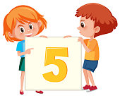 Boy and girl holding number five