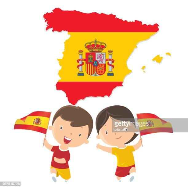 boy and girl holding spain flag - country geographic area stock illustrations, clip art, cartoons, & icons