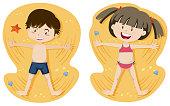 Boy and Girl Playing Sand