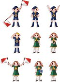 boy and girl Scout icon set