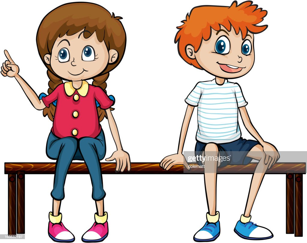 Boy and girl sitting on a bench