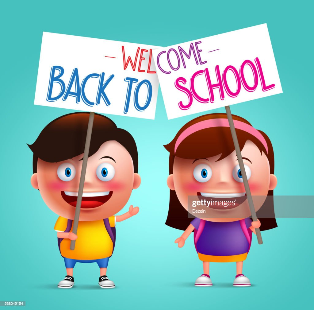 Boy and girl student vector character with smile holding placard