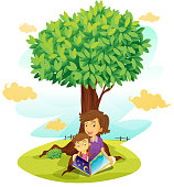 boy and girl studying under tree