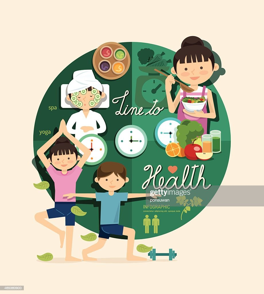 Boy and girl time to health beauty design infographic