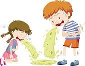 Boy and girl vomitting