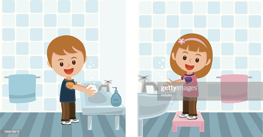 boy and girl washing hands : stock illustration