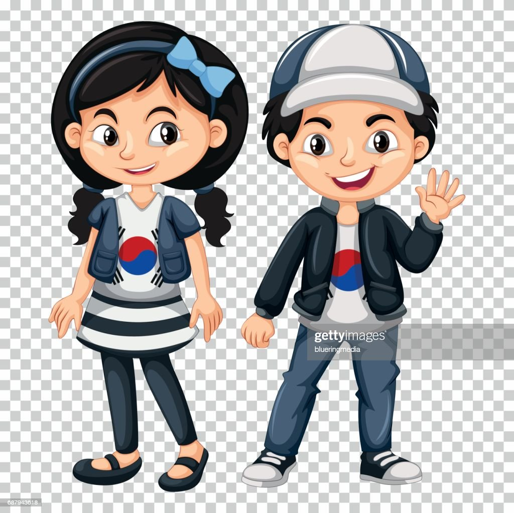 Boy and girl wearing shirts with South Korea flag