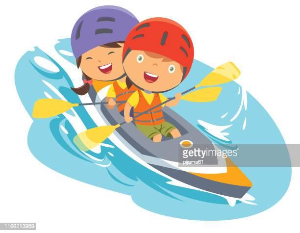 boy and girl with canoe - kayak stock illustrations