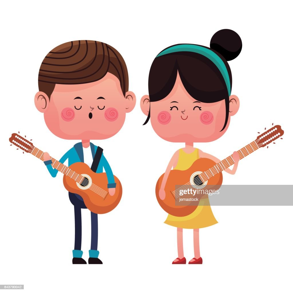 boy and girl with guitars singing happy love