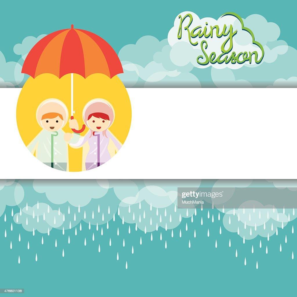 Boy and Girl with Umbrella Rainy Season Background and Frame