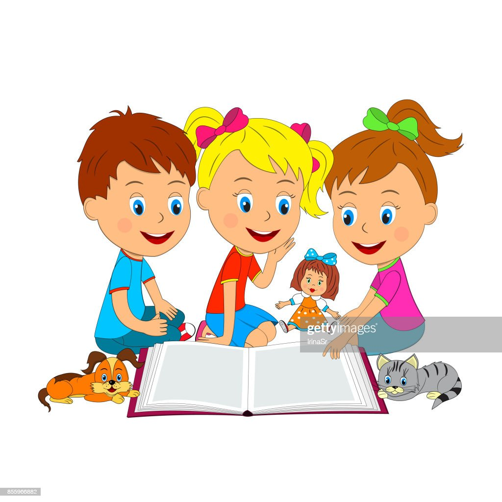 boy and girls are reading a book