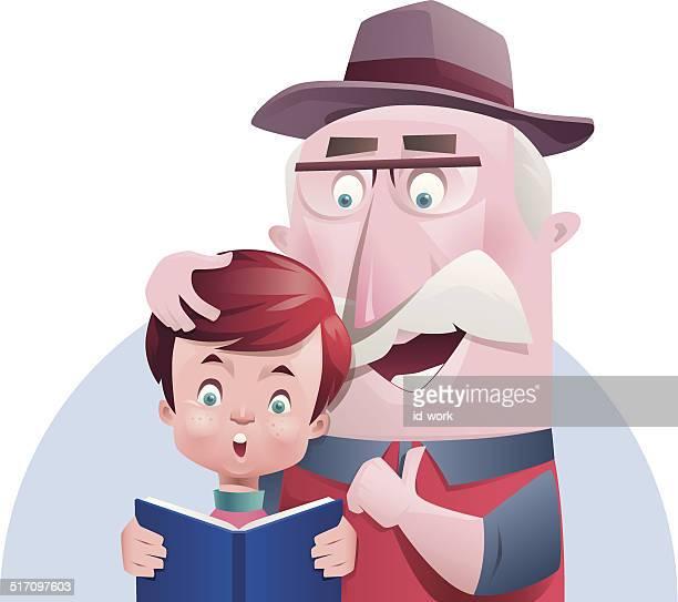 boy and grandpa reading