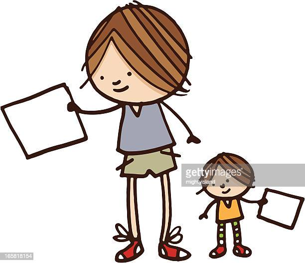 少年と妹保持空白の紙