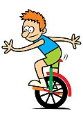 boy and unicycle