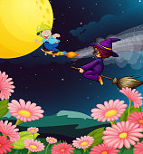 Boy and witch flying
