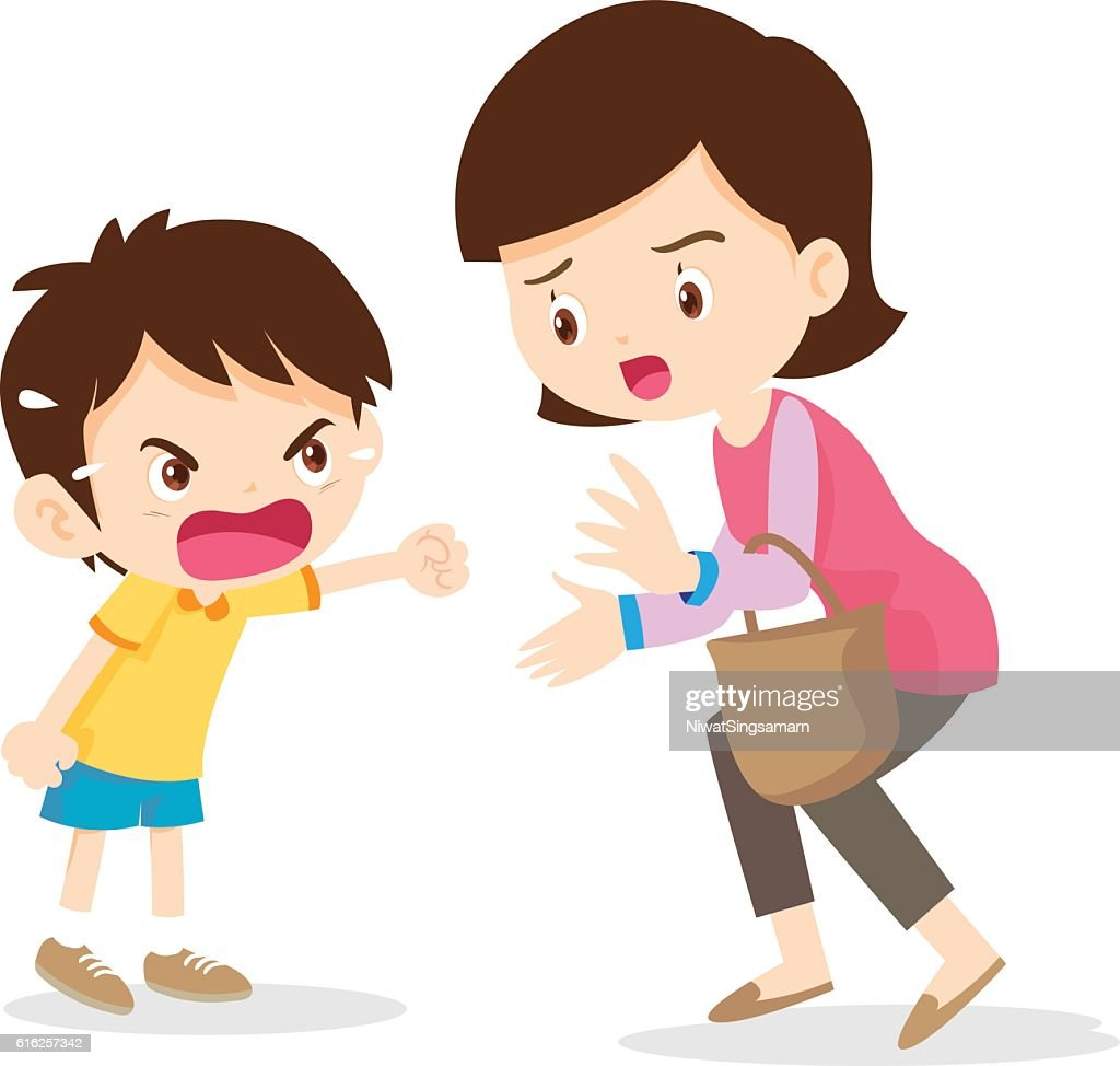 boy angry shouting with mother : Vector Art