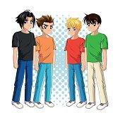 Boy anime male manga cartoon icon. Vector graphic
