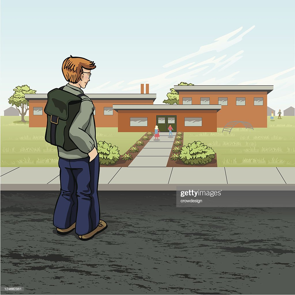Boy Arrives at School