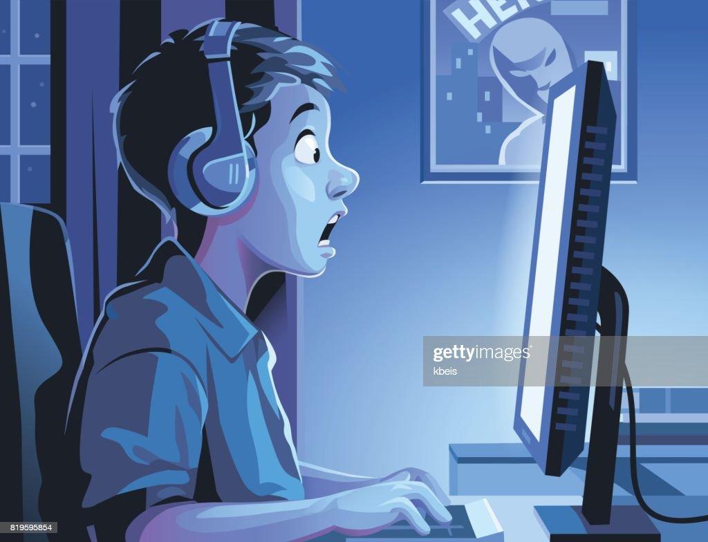 Boy At Computer Late At Night
