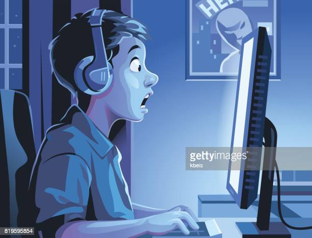boy at computer late at night - addiction stock illustrations, clip art, cartoons, & icons
