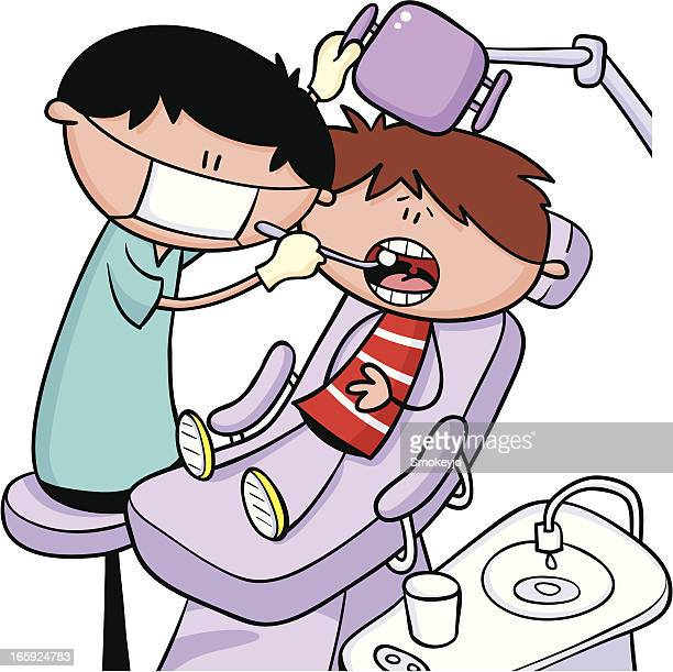 boy at dentists - mouthwash stock illustrations