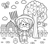 Boy at the farm. Coloring book page