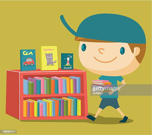 boy at the library - library stock illustrations
