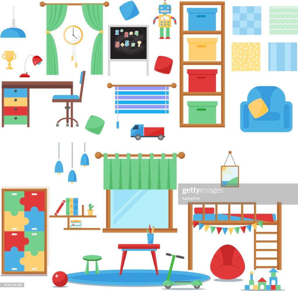 Boy baby room vector set. : Vector Art
