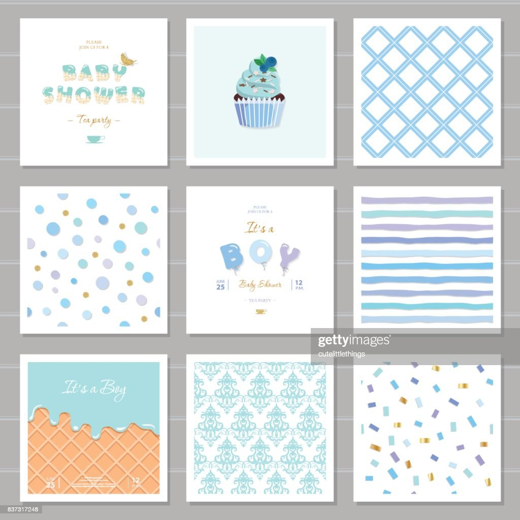 Boy baby shower templates seamless patterns set in pastel blue. Also can be used for birthday greeting cards, kids clothes, bakery, notebook cover design.