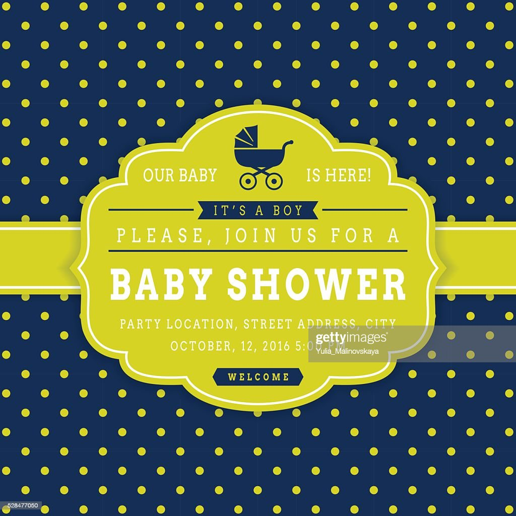 Boy baby shower. Vector card.