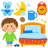 Boy bed time vector collection