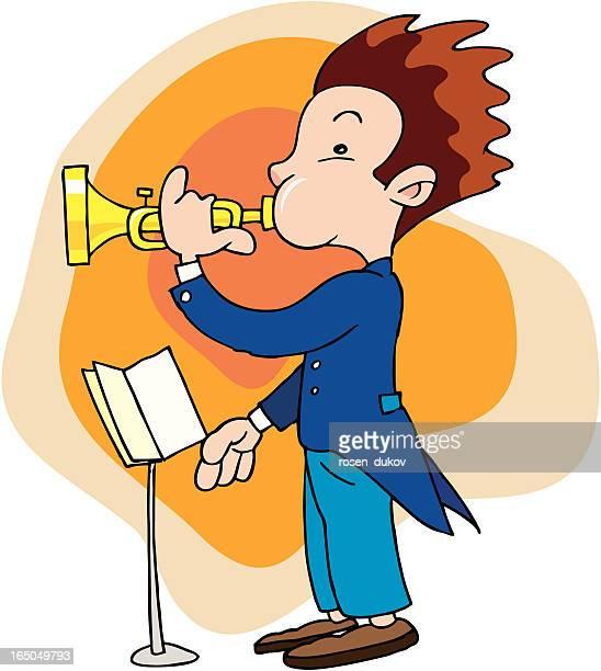 boy blowing a trumpet - camera tripod stock illustrations, clip art, cartoons, & icons
