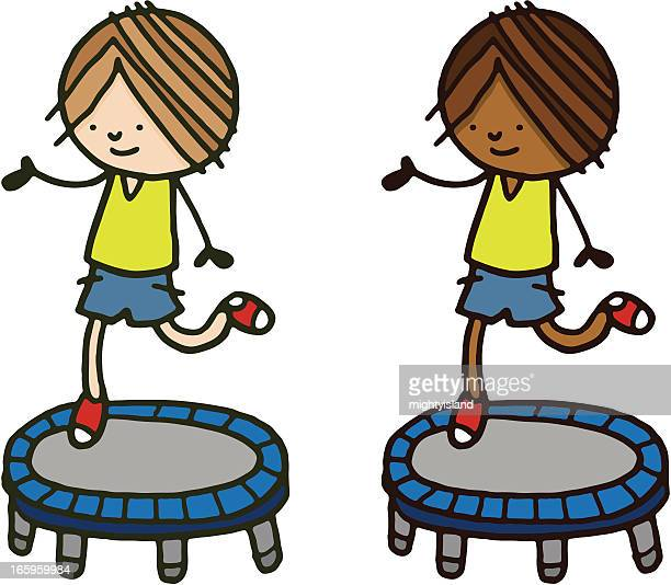 Boy bouncing on a small trampoline