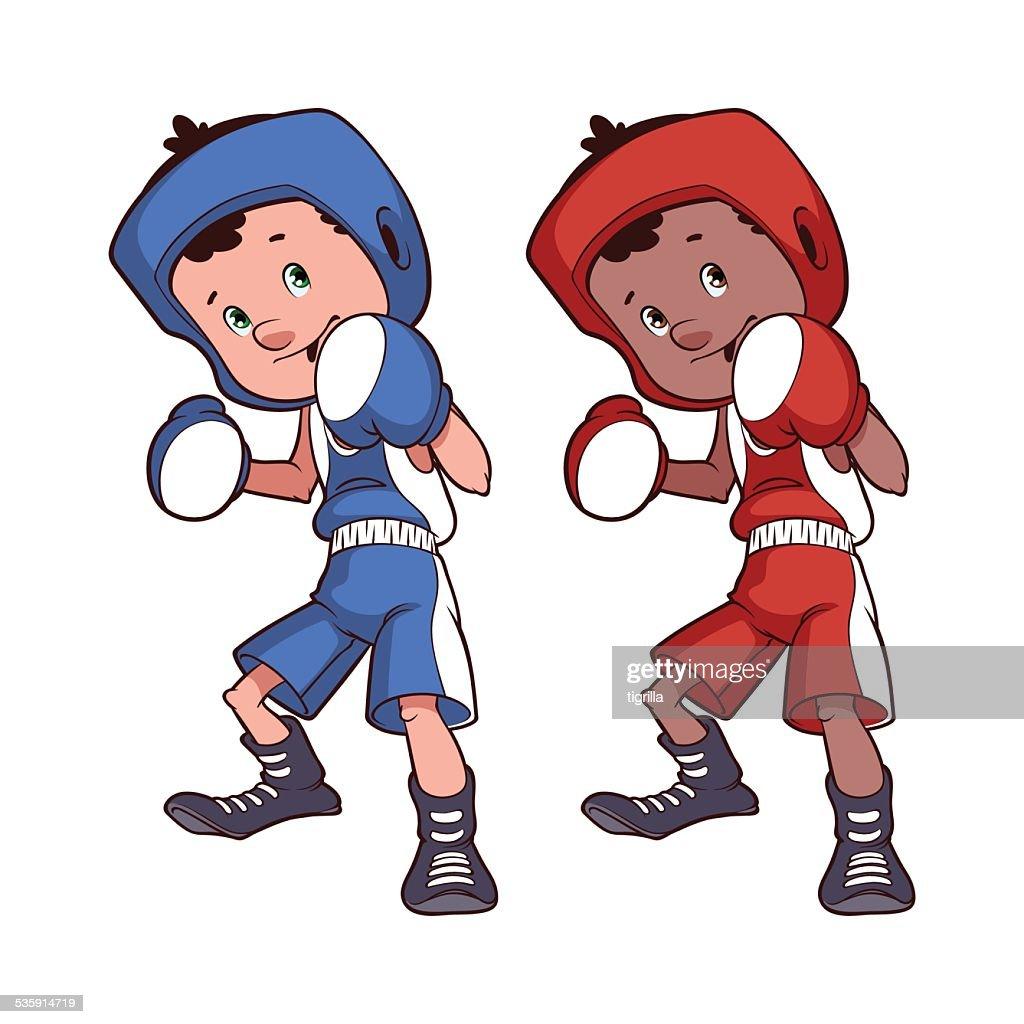 Boy boxeador sobre un fondo blanco : Arte vectorial
