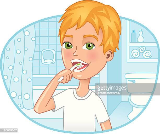illustrations, cliparts, dessins animés et icônes de petit garçon se brosser les dents dans la salle de bains - se brosser les dents
