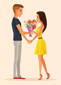 Boy character gives gift bouquet flowers to girl character