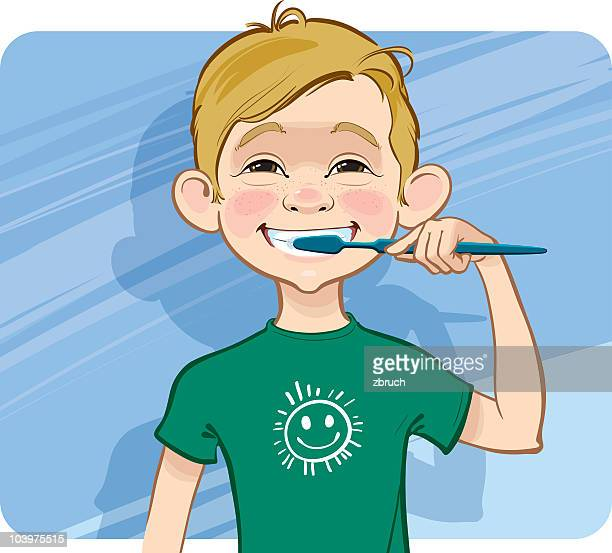 boy cleaning his teeth. - brushing teeth stock illustrations