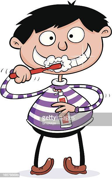 boy cleans teeth - brushing teeth stock illustrations