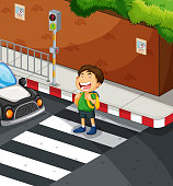 Boy crossing the road at zebra crossing