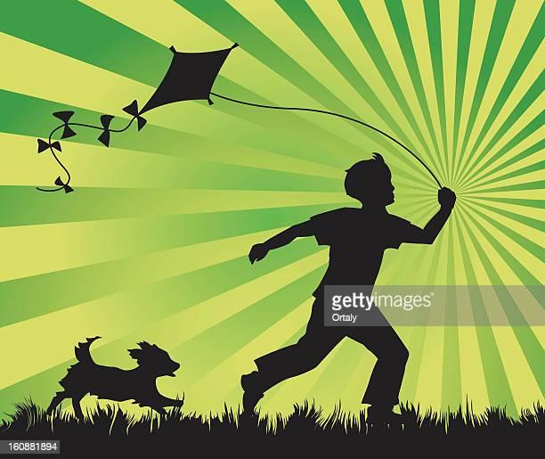 Junge und Hund & kite