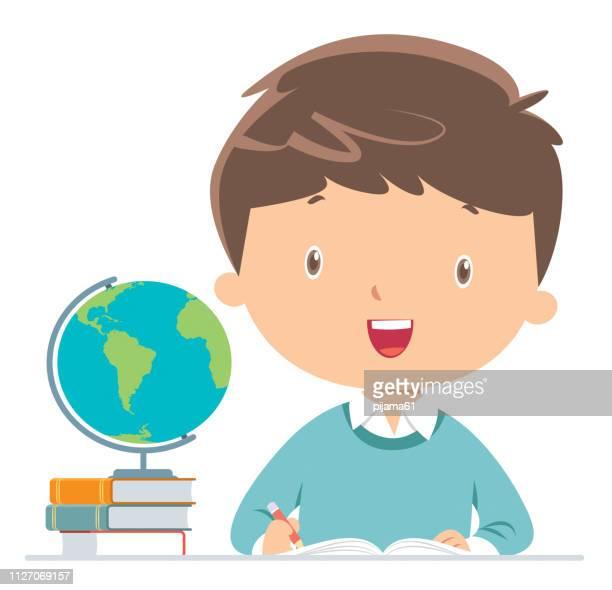 boy doing homework - elementary school stock illustrations