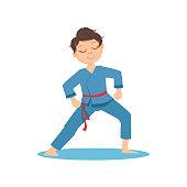 Boy Doing Meditative Tai Chi Exercise In Blue Kimono On Karate Martial Art Sports Training Cute Smiling Cartoon Character