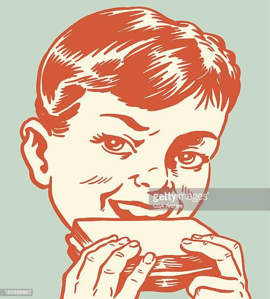 ilustraciones, imágenes clip art, dibujos animados e iconos de stock de niño comiendo un sándwich - comer