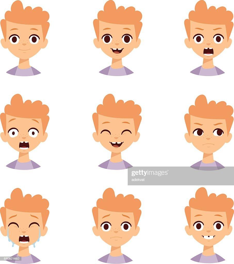 Boy emotions face vector illustration
